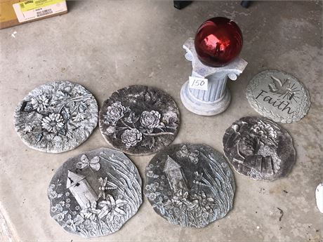 6 Garden Stepping Stones and Garden Orb on Pedestal