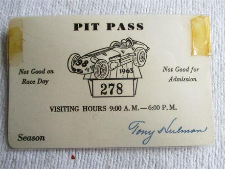 Vintage 1963 Original 47th Indianapolis 500 Tony Hulman Signed Pit Pass