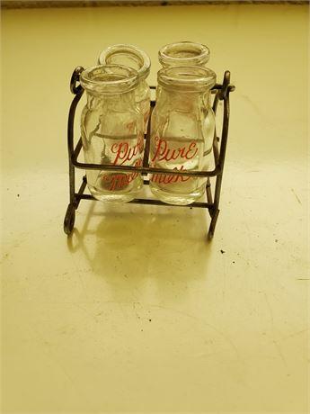 Vintage Miniature Milk Bottles in Carrier