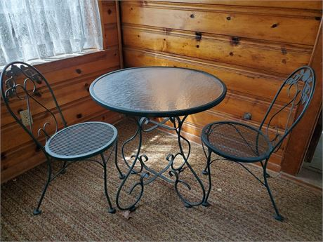 Green Metal Patio Set Table + 2 Chairs