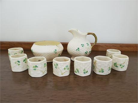 Vintage Belleek Cream Sugar Napkin Rings