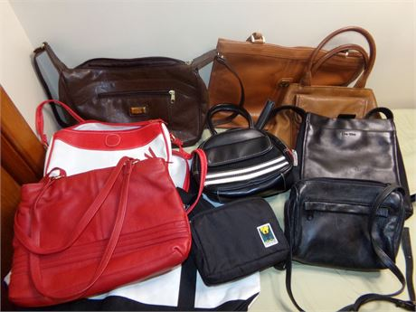 Large Collection of Handbags and Purses including Fossil
