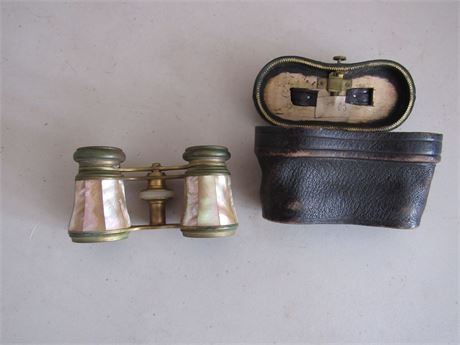 Tosca Mother of Pearl Opera Glasses w/ Case, Antique