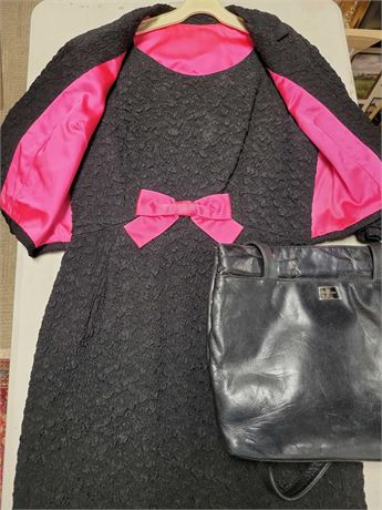 Hot Pink and Black Dress with Jacket and Perlina Black Leather Purse