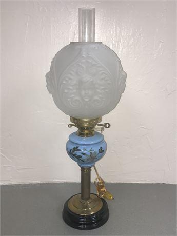 19th Century English Veritas Oil Lamp (small chip to ceramic base)
