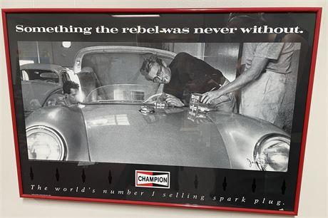 James Dean Framed Champion Advertisement Poster w/ Signature