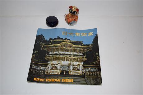 "Vintage Wooden Asian ""Lucky Cat"" and Nikko Toshogu Shrine Program"