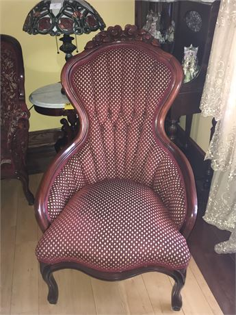Amazingly Beautiful Victorian Style High Back Chair with Custom Upholstery