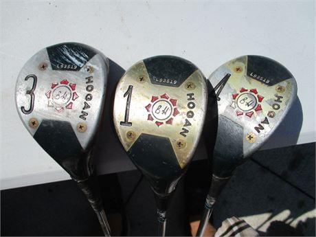 Vintage Ben Hogan Legend 1 - 3 - 4 Persimmon Golf Woods
