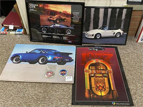 PCA Grille Badge, Two Framed Porsche Posters & Two Posters on Foam Core