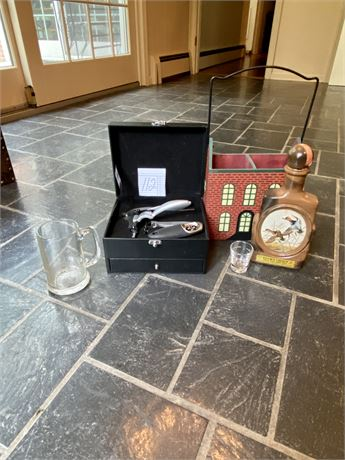 Drinker's Lot with Wine Opener and J. Lockhart Beam Bourbon Collector Decanter