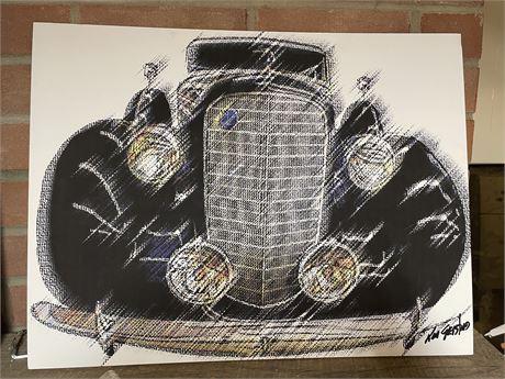 Ken Gessford Signed 1929 Lincoln V12 Art on Foam Core