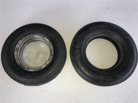 Two Tire Ash Trays - 1-Firestone & 1 Seiberling (1 with glass and 1 without)