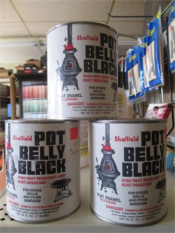 Sheffield  3 Premium Quarts Black Pot belly Stove Paint