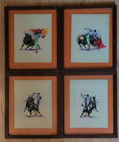Original Framed Watercolors - Bullfighting Scenes
