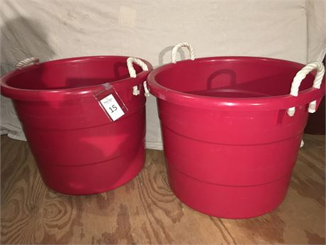 Two Large Red Plastic Tubs with Rope Handles