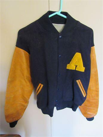 1960s Letterman Jacket, Wool w/ Leather Sleeves. Men's M