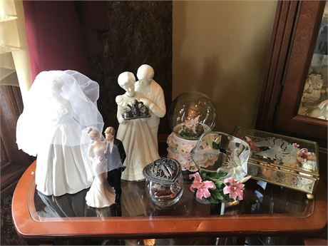 Cabinet Clean Out including Wedding Figurines - 7 pieces