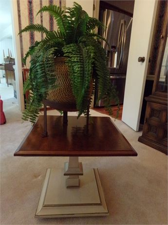 End table (Matches Lot #7) with artificial plant