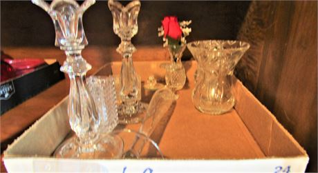 Pair of Crystal Candle Holders and Crystal Bud Vases