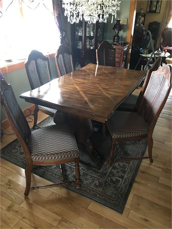 Custom Made Dining Table with 6 Chairs (caning intact)