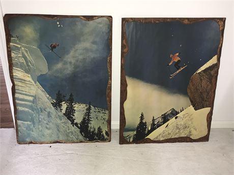 Two Decoupage Skiing Photos on Wood