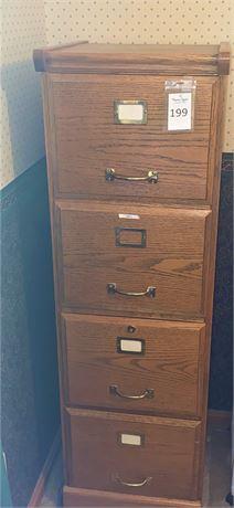 Oak Four-Drawer File Cabinet