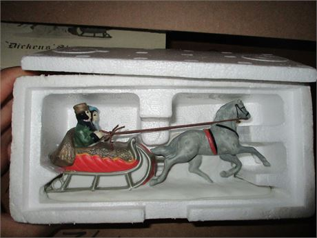 Vintage Dept 56 Dicken's Sleigh Hand Painted Christmas Village Collectibe