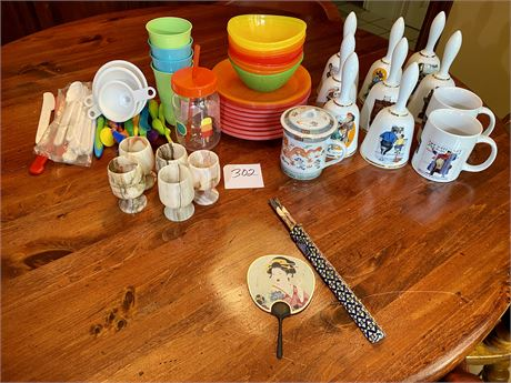 Kitchen Clean Out Lot w/ Norman Rockwell Holiday Bells, Firoza Onyx Goblets, &
