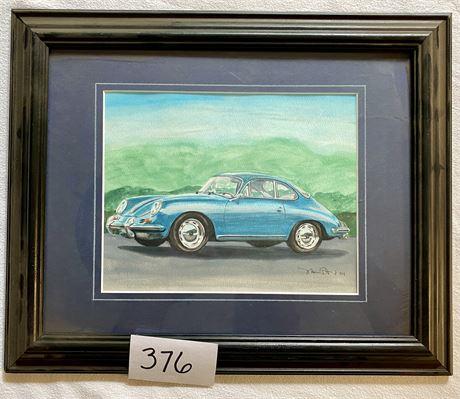 Original Signed Porsche Watercolor (Framed & Matted)
