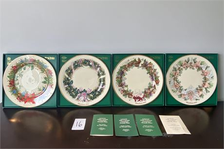 1990's Lenox Colonial Christmas Wreath Plates - Limited Edition