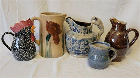 Pottery Pitchers Lot
