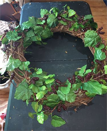 Grapevine Wreath with Berry Garland