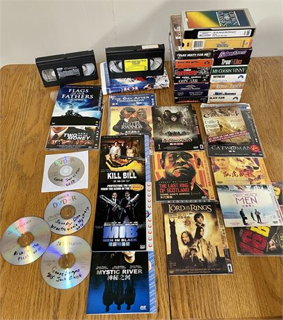 DVD and VHS Tape Lot (DVD's as found)