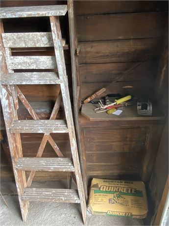 Wood Ladder, Quikrete,  Spud Bar, and Tools