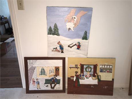 Three Doris Jira Original Christmas Themed Paintings - see description