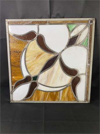Lead plated stained glass window pane.