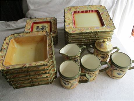 Fancy Old Country Earthenware ROOSTER Dinnerware Set