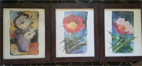 3 Framed Floral Prints