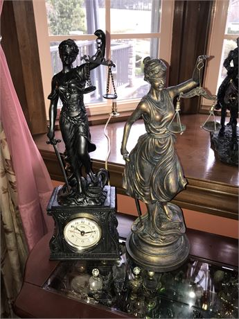 2 Justice is Blind Decorative Statues (one with clock)