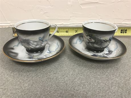 Pair of Antique Kutani Lithopane Dragonware Cups with Saucers