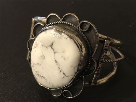White Buffalo Turquoise Navajo Bracelet set in Nickel Silver