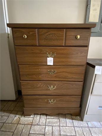 Vintage Five Drawer Wood Dresser