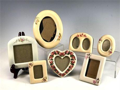 Picture Frame Group Lot Seven Piece Porcelain Desk Frames