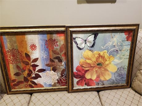Pair of Framed Faux Paintings