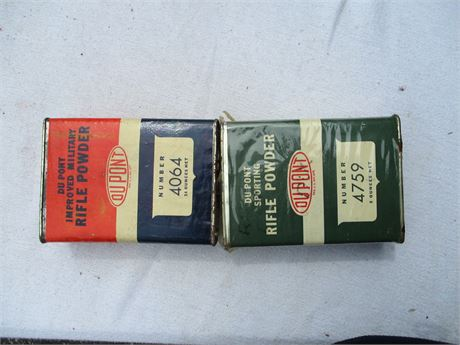 1940's 2 Genuine Dupont Army Military Rifle Empty Gun Powder Cans