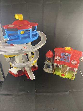 Fisher Price barn and Paw Patrol Speedway. No accessories/characters.