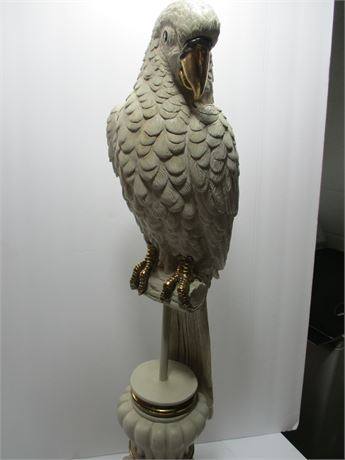 """Huge White 25"""" Parrot On Perch Statue Great Art Figurine"""