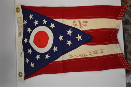 Small OH State flag carried through Vietnam War by USAF Airman