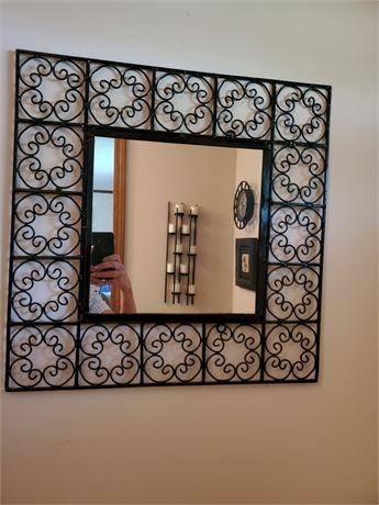 Mirror w/ Decorative Metal Frame